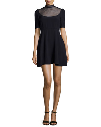 Point D'Esprit Yoked Fit & Flare Dress