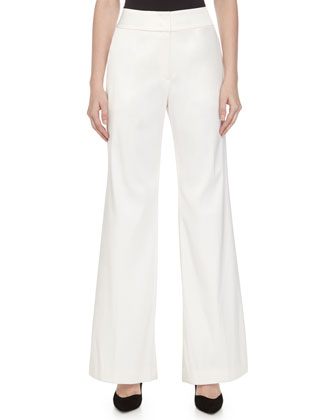 High-Waist Full-Leg Pants, Off White