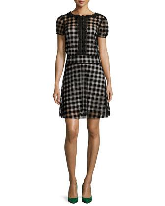 Flocked Checkered Dress