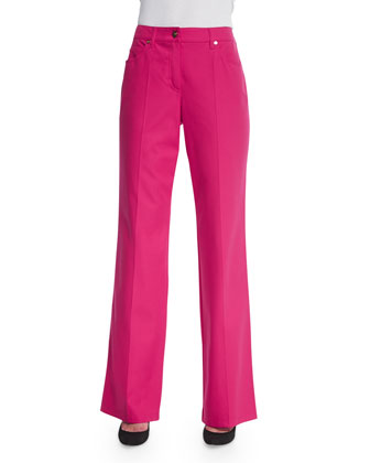 Mid-Rise Straight-Leg Trousers, Blossom