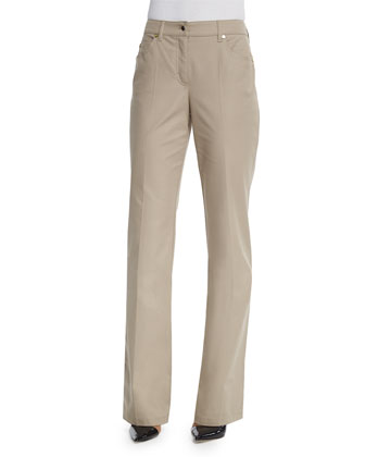 Mid-Rise Straight-Leg Trousers, Trench