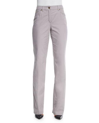 Mid-Rise Straight-Leg Trousers, Shadow