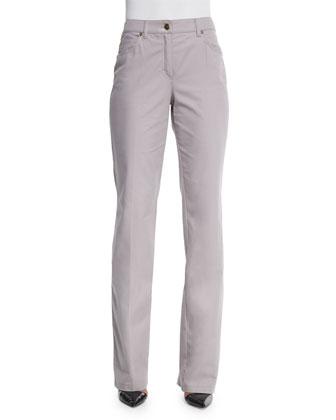 Mid-Rise Straight-Leg Trousers, Shadow