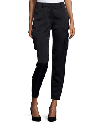 Mid-Rise Cropped Cargo Pants, Black