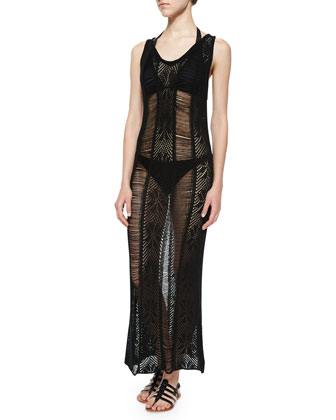 Presidente Crochet Cover Up Maxi Dress, Black Rock