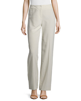 High-Rise Wide-Leg Pants, Greige