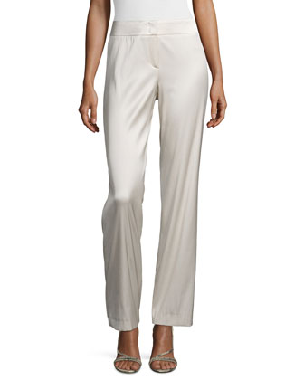 High-Waist Sateen Wide-Leg Pants, Greige