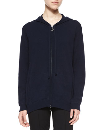 Long-Sleeve Zip Hooded Cardigan, Navy