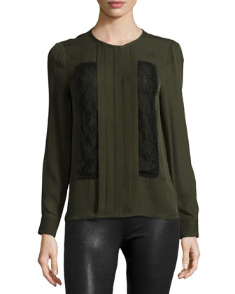 Long-Sleeve Pleated-Front Blouse, Dark Military/Black