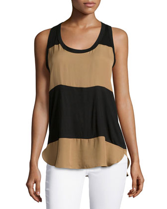 Low-Armhole Colorblock Tank Top, Black/Suntan