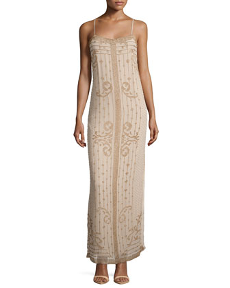Sleeveless Embroidered Scroll Gown, Buff/Matte Gold