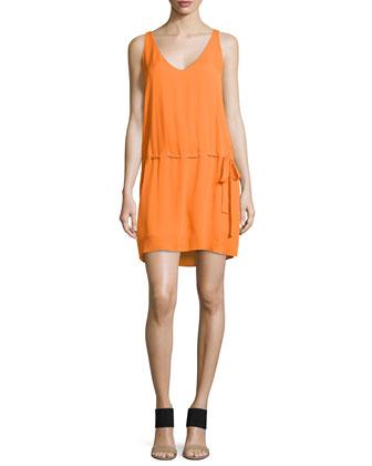 V-Neck Sleeveless Dress with Belt, Orange Peel