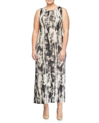 Snake-Print Sleeveless Gown, Olive Multi
