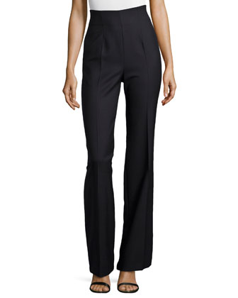 High-Waist Pleated-Front Pants, Navy