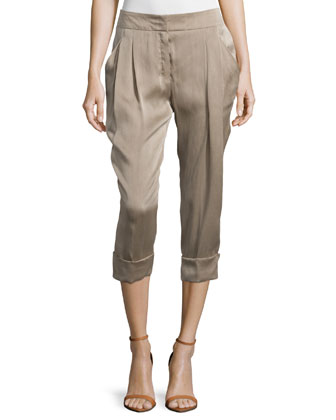 Mid-Rise Narrow Capri Pants, Shadow