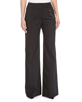 Thin-Striped Wide-Leg Pants, Black