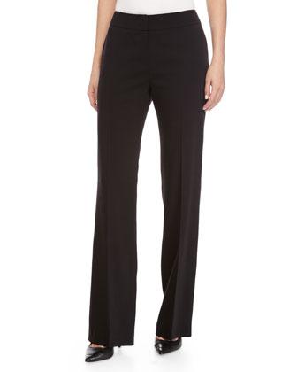 Banded Wide-Leg Pants, Black