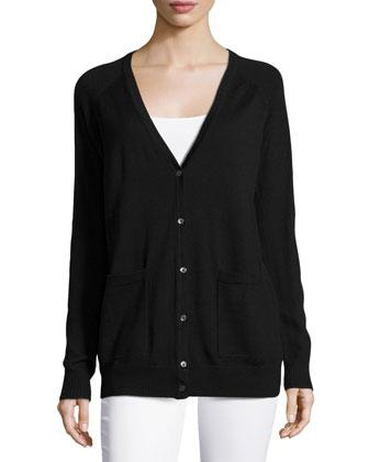 Long-Sleeve Combo Cardigan, Black