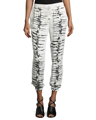 New Slim Shady Printed Pants, Swan/Multi
