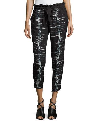 Printed Jogger Pants, Black/Swan