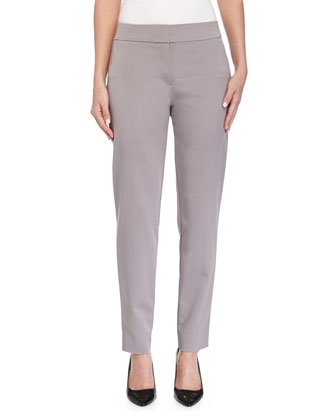 Tapered-Leg Cropped Pants, Platinum