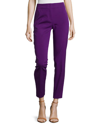 Mid-Rise Tapered Crop Pants, Iris