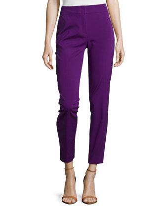 Mid-Rise Tapered Crop Pants, Iris