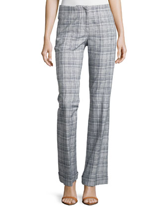 Low-Rise Plaid Boot-Cut Pants, Navy