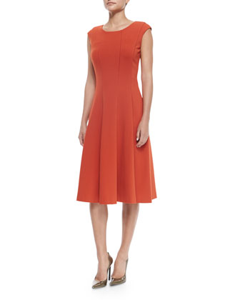 Bev Cap-Sleeve Midi Dress