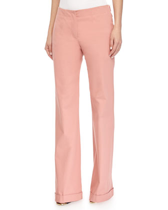Low-Rise Boot-Cut Woven Pants, Framboise