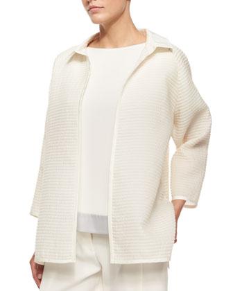 Harlow Ribbed Open Topper, Contessa Short-Sleeve Silk Blouse & Asymmetric ...