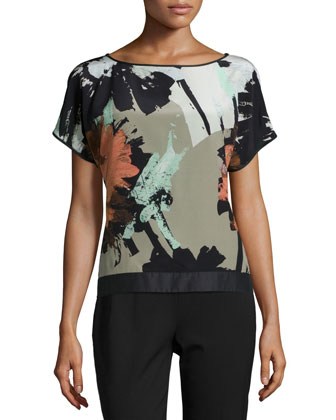 Contessa Short-Sleeve Printed Silk Blouse