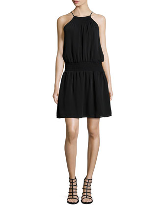 Nahal Silk Halter Dress, Caviar