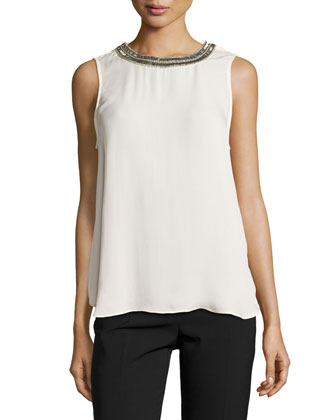 Embellished-Neck Muscle Tank, Antique Ivory