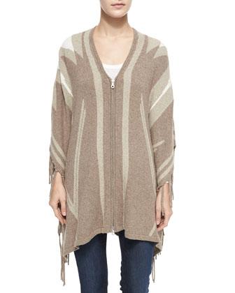 Ignacie Abstract Navajo Intarsia Zip Sweater