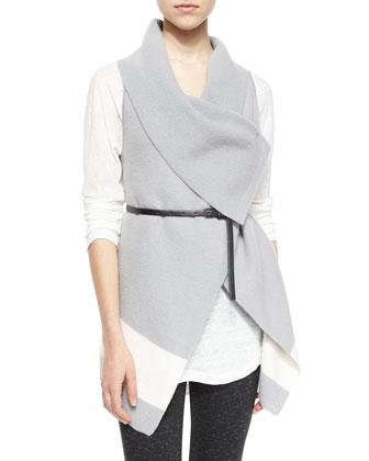 Ligiere Wool Colorblock Belted Vest
