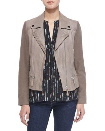 Seabrooke Mixed Media Leather Jacket & Aruna Arrow-Print Silk Top