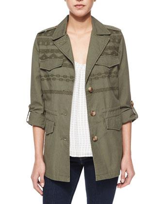 Aalia Printed-Strap Silk Top & Evandale Embroidered Jacket
