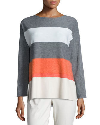 Oversized Needle-Punch Striped Topper & Stanton Straight-Leg Ankle Pants