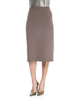 Ottoman-Stitch Slim Skirt