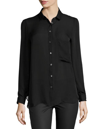 Long-Sleeve Open-Back Blouse, Black