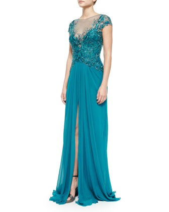 Cap-Sleeve Embroidered Gown, Teal