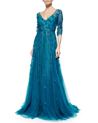 3/4-Sleeve Floral-Embroidered Gown, Teal