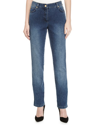 Low-Rise Straight-Leg Denim Jeans, Medium Blue