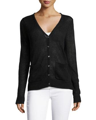 V-Neck Long-Sleeve Back-Lace Cardigan, Black