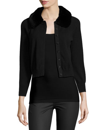 Fur-Collar Cashmere Shrug