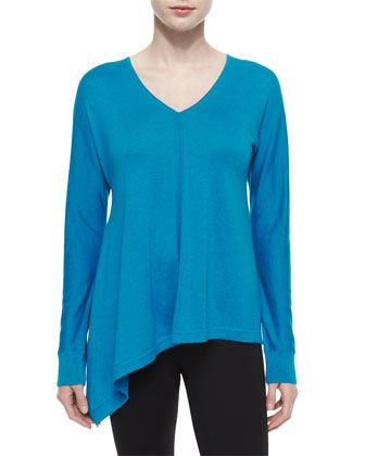 Dolman-Sleeve V-Neck Tunic Sweater