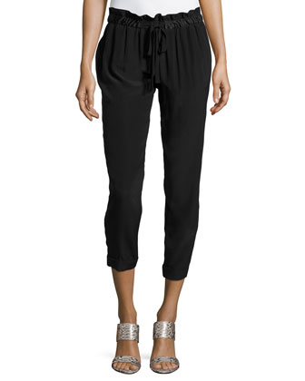 Cropped-Leg Jogger Pants, Black