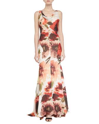 Cowl-Neck Sleeveless Gown, Rose Multi
