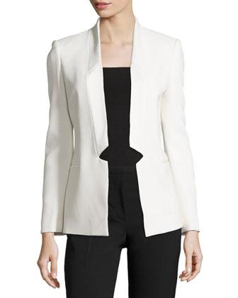 Long-Sleeve Tuxedo Blazer, Antique White